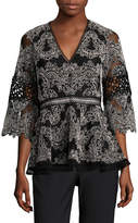 Alexis Women's Cecila Embroidered Peplum Blouse