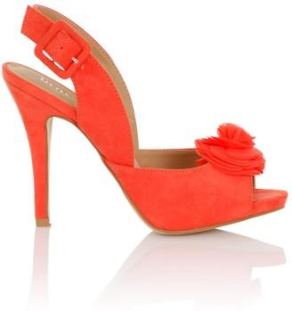 Little Mistress Footwear Eirenne Coral Flower Sling Back Heels