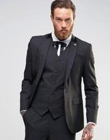 Asos Slim Suit Jacket In Black Tonic