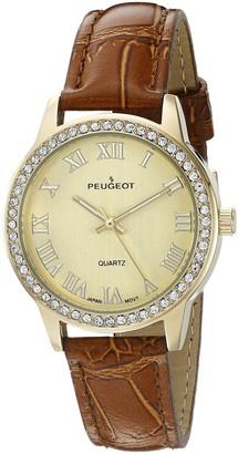 Peugeot Women's Crystal Bezel Gold Leather Strap Watch