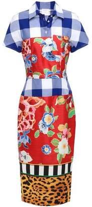 Stella Jean Patchwork-effect Printed Satin-twill And Cotton-poplin Shirt Dress