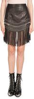 Balmain Fringed Leather Chain-Trim Skirt