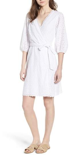 Velvet by Graham & Spencer Cotton Eyelet Wrap Dress