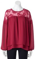Trixxi Juniors' Tiered Lace Peasant Top