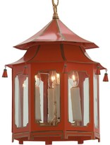 The Well Appointed House Red and Gold Pagoda Lantern