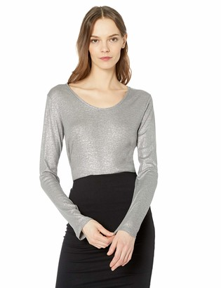 Majestic Filatures Women's Cotton/Cashmere/Silk Metallic Long Sleeve Scoop Neck