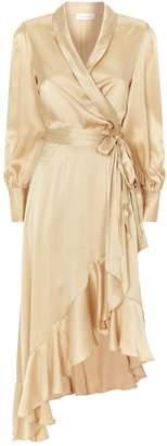 Zimmermann Super Eight Silk Wrap Midi Dress