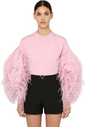 Valentino Micro Faille Shirt W/feathers