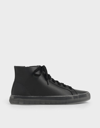 Charles & Keith Clear Sole High Top Sneakers