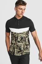 BoohoomanBoohooMAN Mens Black Muscle Fit Baroque Panelled Polo, Black
