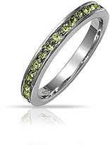 Bling Jewelry Sterling Silver Simulated Peridot CZ Eternity Ring