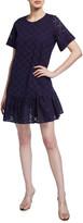 Milly Cece Leaf Eyelet Flounce-Hem Dress