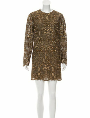 Valentino Embroidered A-Line Mini Dress w/ Tags Gold