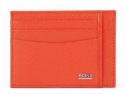 HUGO BOSS Signature Collection Card Holder In Palmellato Leather - Orange