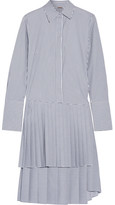 ADAM by Adam Lippes Striped Pleated Poplin Dress - Blue