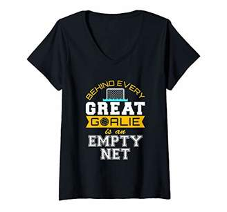 Womens Water Polo Goalie Gifts Behind Every Great Goalie Goalkeeper V-Neck T-Shirt