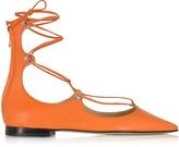 Pinko Mercurio Orange Leather Pointed Ballet Flats