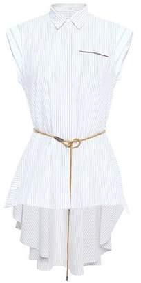 Brunello Cucinelli Asymmetric Belted Bead-embellished Striped Cotton-poplin Shirt