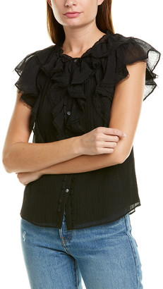 Rebecca Taylor Ruffled Silk-Blend Top