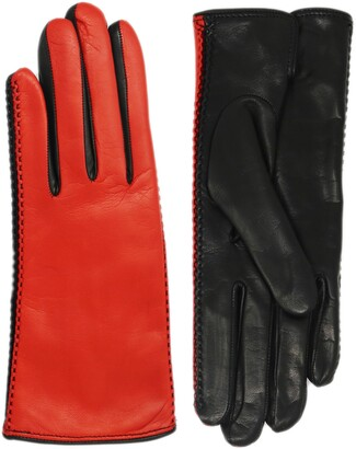 NICOLETTA ROSI Women's Two Tone Cashmere Lined Lambskin Leather Gloves