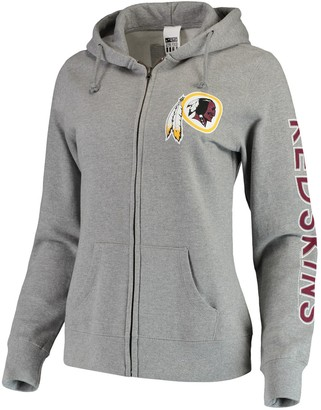 Women's Gray Washington Redskins Extra Point Two-Hit Full-Zip Hoodie
