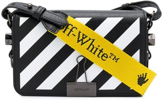 Off-White Binder-Clip Striped Crossbody Bag