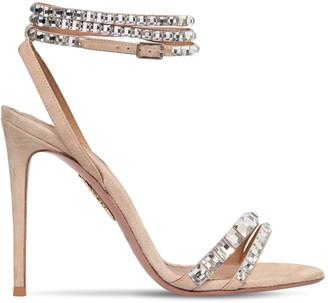 Aquazzura 105mm So Vera Suede & Swarovski Sandals