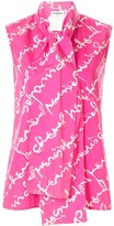 Chanel Pre Owned cursive logo print pussy bow blouse