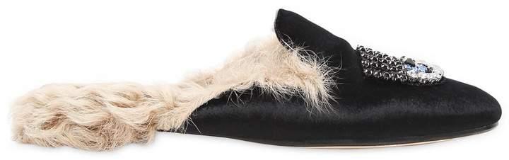 Chiara Ferragni 10mm Embellished Velvet & Fur Mules