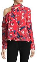 Tanya Taylor Jules One Shoulder Tulip Print Silk Top