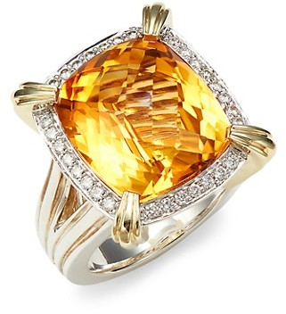 Charles Krypell 14K Yellow Gold Sterling Silver Citrine Diamond Statement Ring