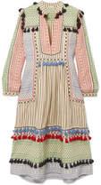 Dodo Bar Or - Tasseled Striped Cotton-gauze Midi Dress - Off-white