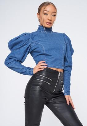 Missguided Blue High Neck Puff Sleeve Denim Top