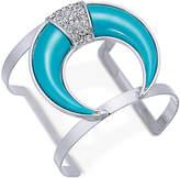 Thalia Sodi Silver-Tone Pavé & Blue Stone Horn Cuff Bracelet, Created or Macy's