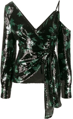 Self-Portrait Sequined Leaf Pattern Blouse