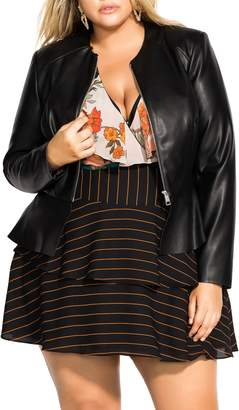 City Chic Dowtown Faux Leather Peplum Jacket