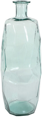 Uma Enterprises Uma Extra Large Decorative Soda Lime Glass Flower Vase W/ Angular, Geometric Body