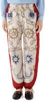 Gucci Men's Anchor-Print Cotton Jogger Pants