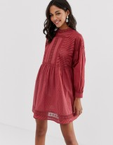 Asos Design DESIGN dobby high neck mini smock dress with lace trims