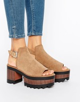 Pull&Bear Faux Suede Wooden Heeled Sandals