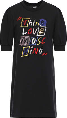 Love Moschino Embellished French Cotton-blend Terry Mini Dress