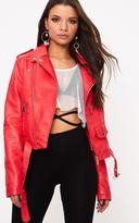 PrettyLittleThing Red Zip Detail PU Biker