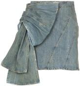 Miu Miu side ruffle bow detail denim mini skirt