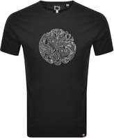 Pretty Green Applique Paisley Logo T Shirt Black