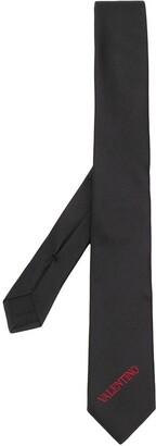 Valentino embroidered logo necktie