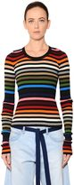 Sonia Rykiel Striped Cotton Blend Rib Knit Sweater