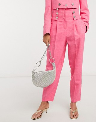 Topshop IDOL button detail pants co-ord in pink