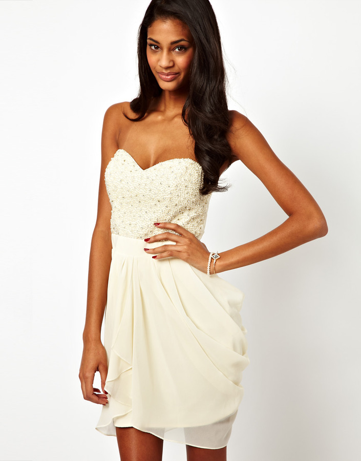 Lipsy VIP Sequin and Pearl Bust Dress