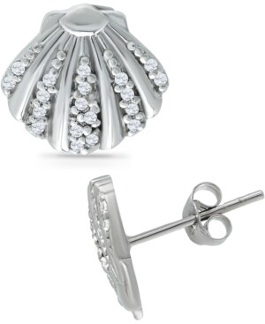 Giani Bernini Cubic Zirconia Clam Shell Stud Earrings in Sterling Silver, Created for Macy's
