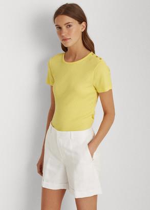 Ralph Lauren Button-Trim Striped Cotton Top